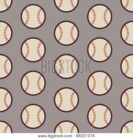 Flat Vector Seamless Sport And Recreation Activity Baseball Pattern