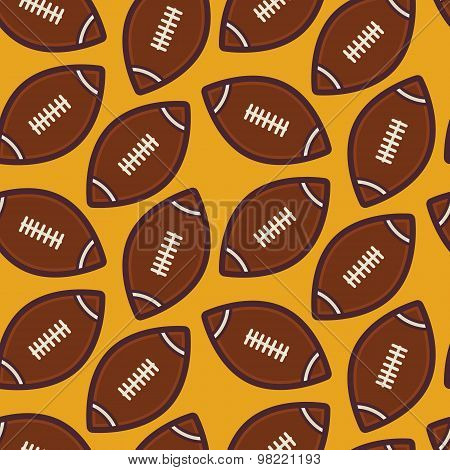 Flat Vector Seamless Sport And Recreation American Rugby Football Pattern