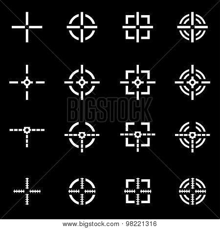 Vector White Crosshair Icon Set