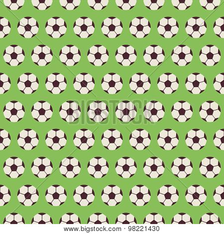 Flat Vector Seamless Sport And Recreation Pattern Soccer Football