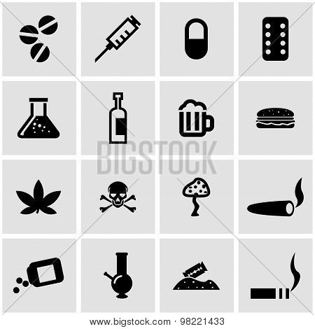 Vector Black Drugs  Icon Set