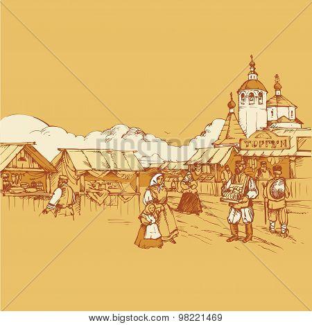 Russian old fair bazaar vector drawing