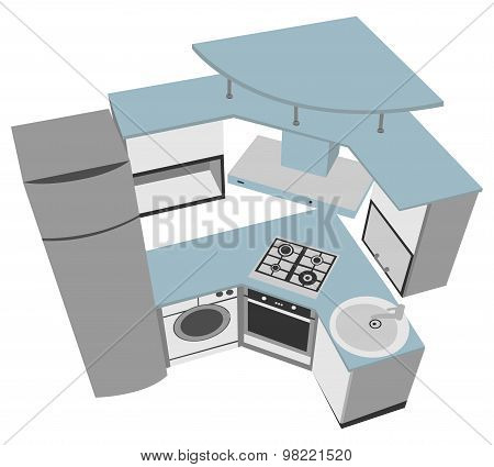 kitchen interior cutaway illustration modern style