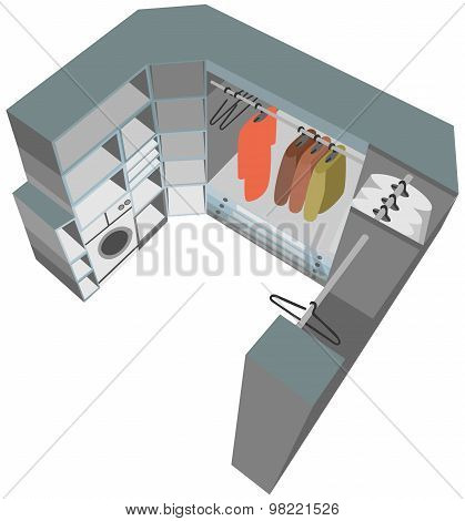 interior closet cutaway illustration wardrobe room 3d