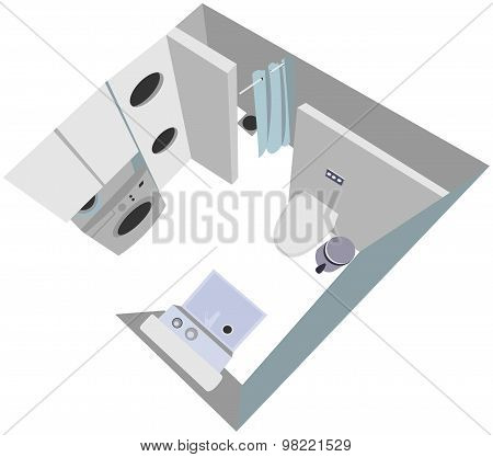 bathroom interior cutaway illustration top view