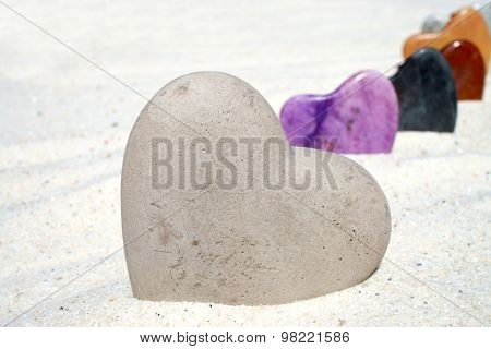 Large Stone Heart In The Sand