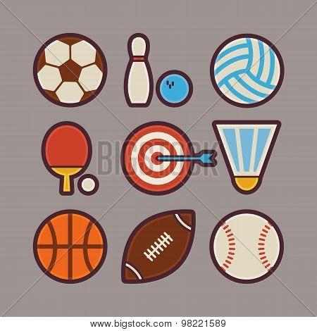 Sport Items Modern Flat Icons Set