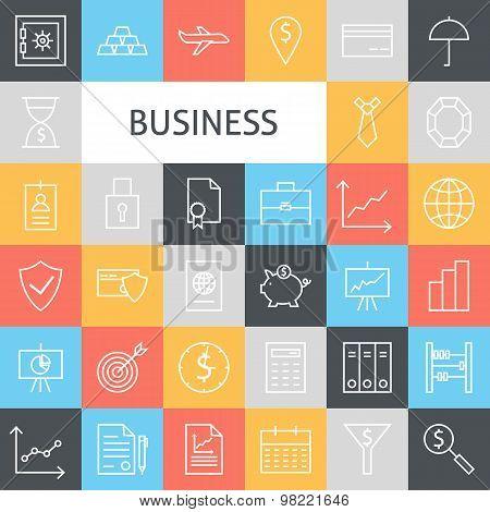 Vector Flat Line Art Modern Business Icons Set