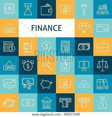 Vector Flat Line Art Modern Finance Money And Banking Business Icons Set