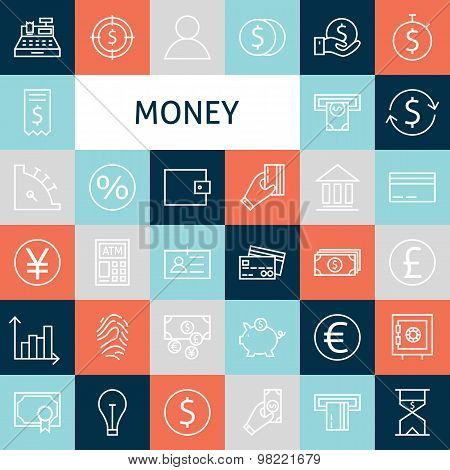 Vector Flat Line Art Modern Money And Finance Icons Set