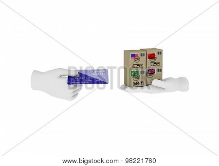 Internet Trade. 3D Illustration On A White Background. Render.