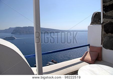 Beautiful View Of The Caldera From A Balcony In Oia, Santorini, Greece.