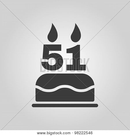 The birthday cake with candles in the form of number 51 icon. Birthday symbol. Flat