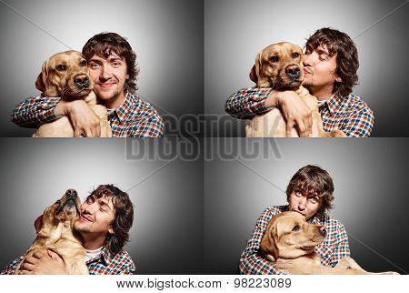 Closeup Portrait Handsome Young Hipster Man, Kissing His Good Friend Dog Isolated Black Grey Backgro