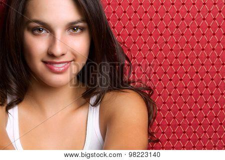 Beautiful brunette young woman smiling