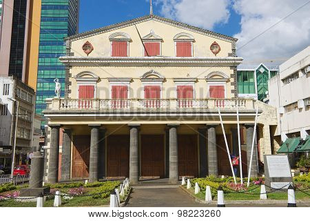 Exterior of the old theatre building in Port Louis, Mauritius.