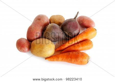 Fresh Vegetables Carrots, Beetroots And Potatoes Isolated On White