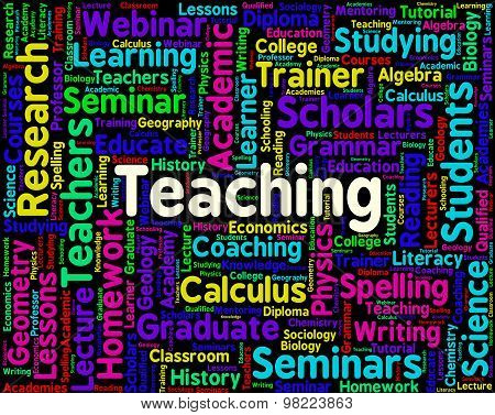 Teaching Word Represents Give Lessons And Coaching