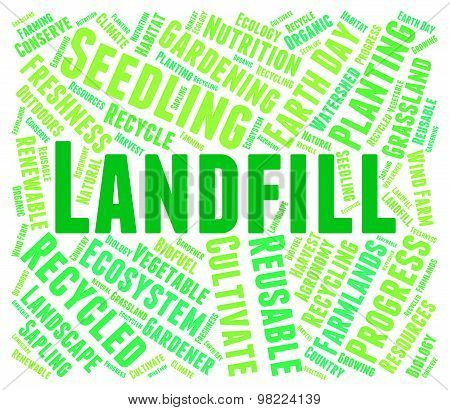 Landfill Word Represents Waste Management And Disposal