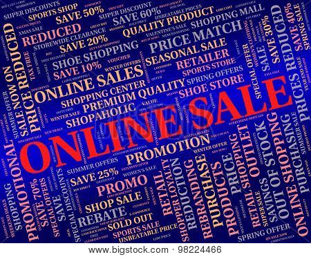 Online Sale Means World Wide Web And Bargain