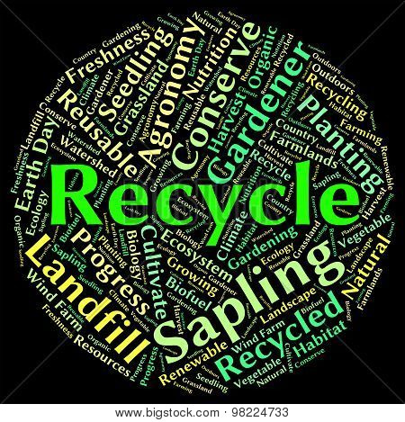 Recycle Word Shows Earth Friendly And Recyclable