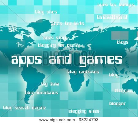Apps And Games Represents Play Time And Text