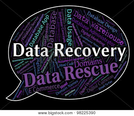 Data Recovery Indicates Getting Back And Bytes