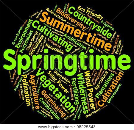 Springtime Word Represents Words Season And Seasons