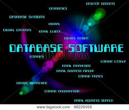 Database Software Means Databases Words And Computer