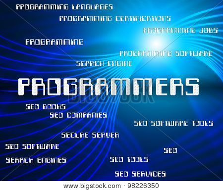 Programmers Word Shows Programming Job And Software