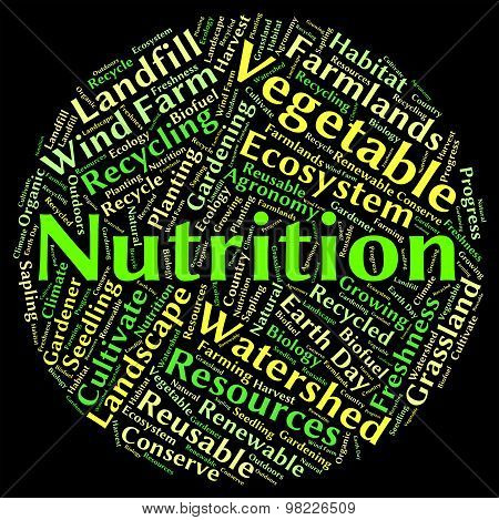 Nutrition Word Shows Nutrients Food And Words