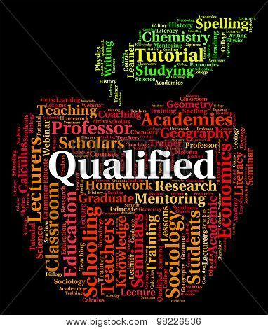 Qualified Word Indicates Professional Text And Qualifications