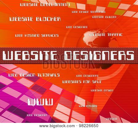 Website Designers Represents Word Text And Domain