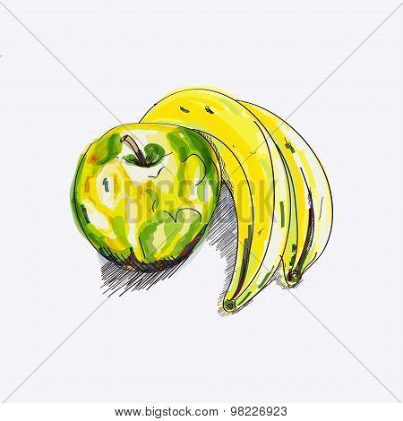 sketch apple and banana