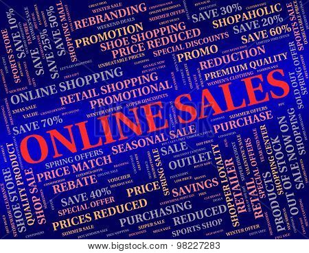 Online Sales Represents World Wide Web And Net