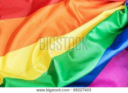 Fabric Texture Of The Gay Rainbow Flag