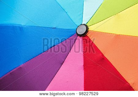 Open Multicolored Umbrella In Rainbow