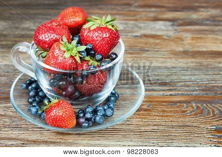 Mixed Berries In A A Transparent Cup