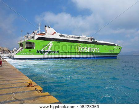 18.06.2015, CRETE, GREECE. Big Ferryboat In Santorini Sea Port