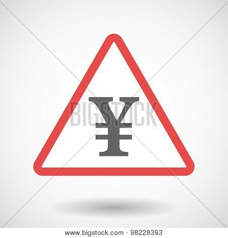Warning Signal With A Yen Sign