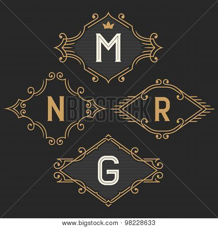 The set of elegant vintage monogram emblem and logo templates.