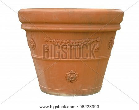 Ornated Clay Pot Vase Isolated Over White
