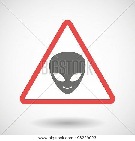 Warning Signal With An Alien Face