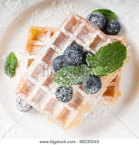 Delicious waffles with blueberris