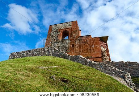 Ruins Of Upper Castle Vilna Against Bright Blue Sky