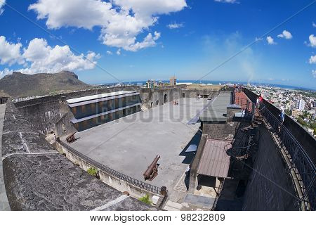 Tourists explore Fort Adelaide in Port Louis, Mauritius.