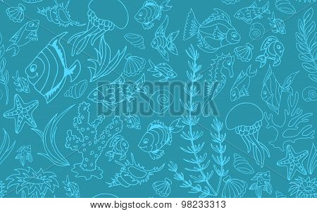 Seamless Pattern With Different Tropical Fish