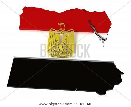 Egypt, Map and Flag, Clipping Path Included