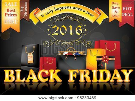 Black Friday 2016 sale advertising poster, also for print
