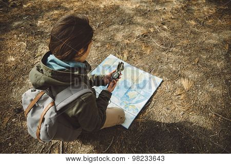 Traveler Woman With A Compass And Map Outdoor